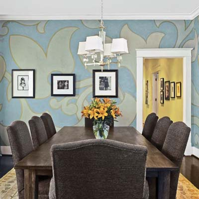 dining room with oversized pattern painted on walls