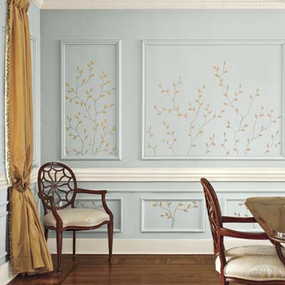 dining room walls painted with twig detail