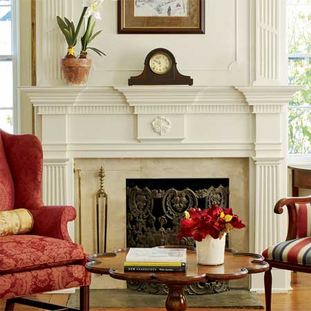 fireplaces were built up with stock and custom moldings in this greek revival remodel