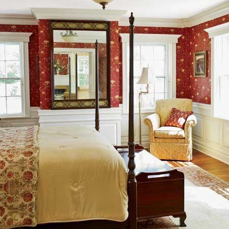 master suite bedroom and sitting room in this remodeled greek revival