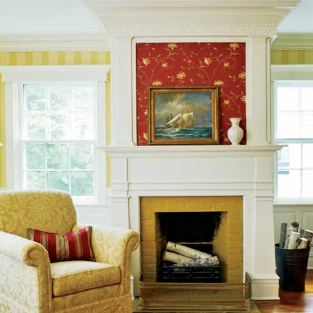 double high mantle on the fireplace of the master suite in this remodeled greek revival