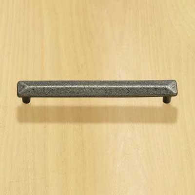solid brass bar pull with a pewter finish and a beveled design for cabinets and drawers
