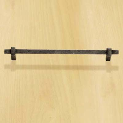 cast iron bar pull with a silvery finish for cabinets and drawers
