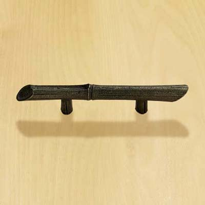 solid pewter bar pull with brass fittings and finish and bamboo design for cabinets and drawers