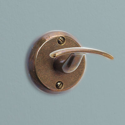 a dark patina recycled bronze bath hook from Rocky Mountain Hardware