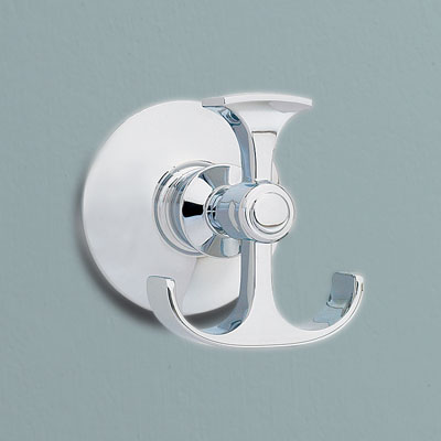 an anchor-shaped brass robe hook from Kohler with a polished chrome finish