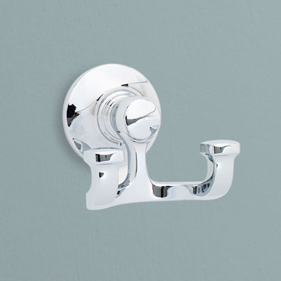 a brass robe hook from Kohler with a polished chrome finish