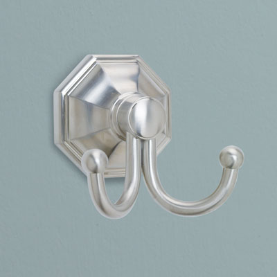 an brass bath hook from Norwell Lighting with a brushed nickel finish