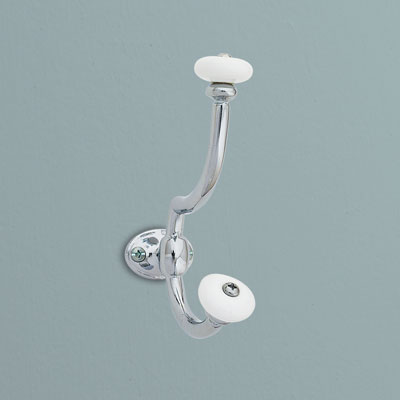 a brass bath hook from Gatco with a polished chrome finish