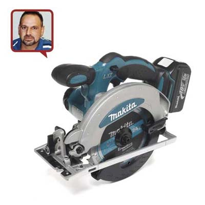 a circular saw made by Makita with reviewer head shot inset