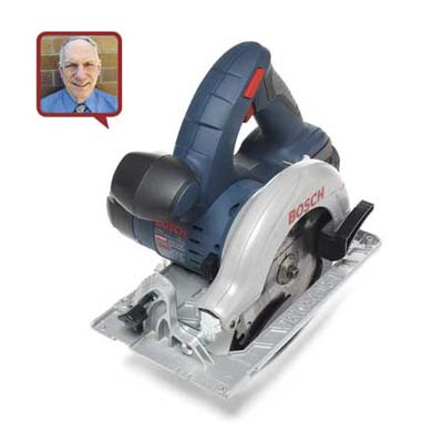 a circular saw made by Bosch with reviewer head shot inset