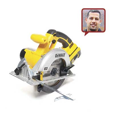 a circular saw made by DeWalt with reviewer head shot inset