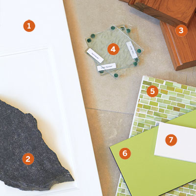 collection of color and material samples used in the auburndale kitchen remodel