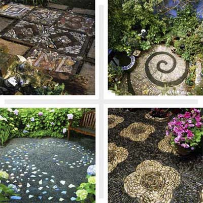 four examples of pebble mosaics