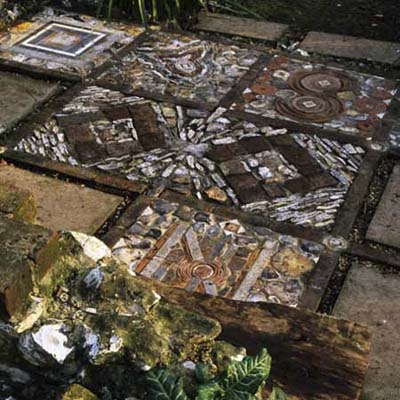 eclectic looking mixed materials mosaic design