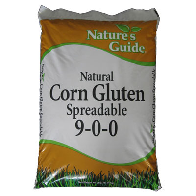 bag of natural corn gluten spreadable weed and feed