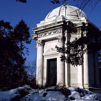 This mausoleum for A.C. Taylor demonstrates Beaux-Arts design