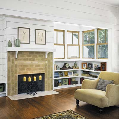 built-in bookcase by the fireplace