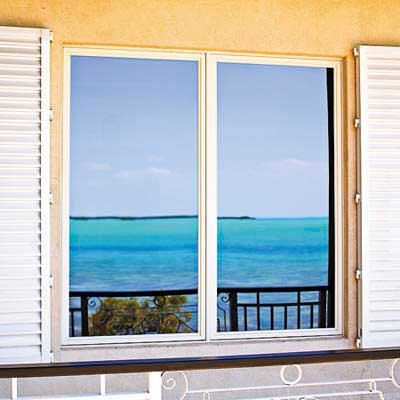 exterior frames of a window in Key Largo eco-friendly house