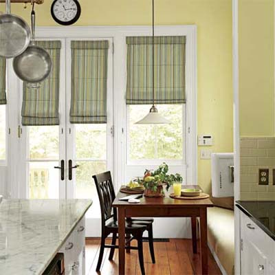 banquette and island in renovated Victorian kitchen