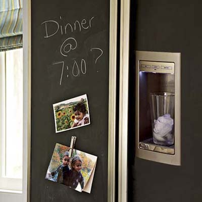 Fridge With Chalkboard Panels in renovated Victorian kitchen