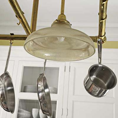Pot Rack in renovated Victorian kitchen