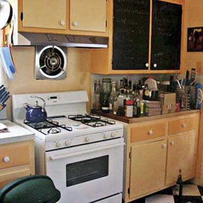 Before photo showing 1960s kitchen