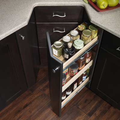 notched cabinet with full-extension drawers and pantry shelves found at the 2011 International Builder's Show