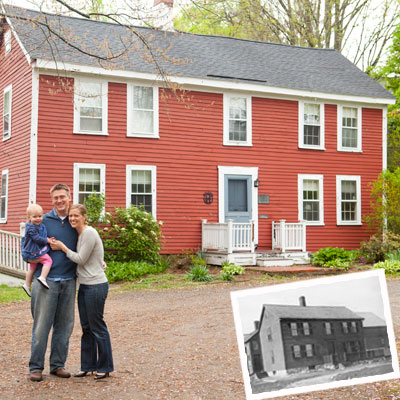 The Titlow family in front of their Bedford, Massachusetts home
