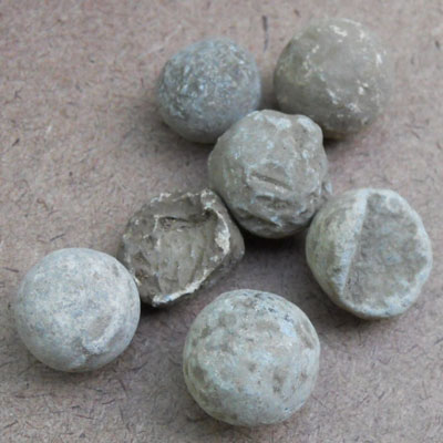 Musket balls found at the Titlow family home in Bedford, Massachusetts
