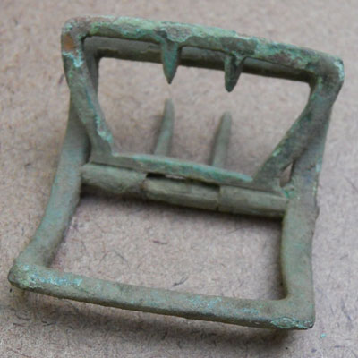 Shoe buckle found at the Titlow family home in Bedford, Massachusetts