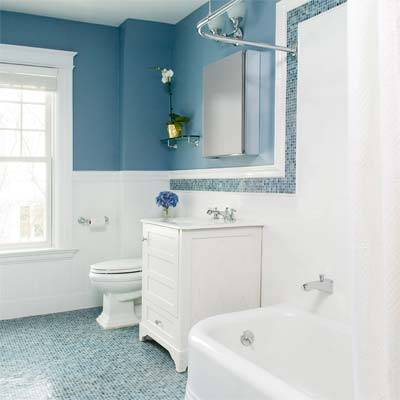 West Newton Shingle-Style old fashioned bath from best toh tv home remodels by kevin o'connor, bath with blue walls and mosaic tile