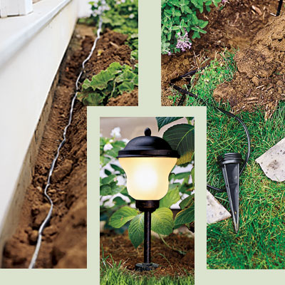 three examples of how low voltage lights are installed
