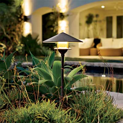 glowing garden example of exterior landscape lighting