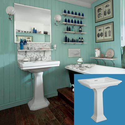 a turn-of-the-century vintage-style bath with a pedestal sink inset