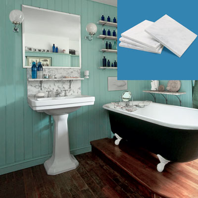 a turn-of-the-century vintage-style bath with a backsplash tile inset