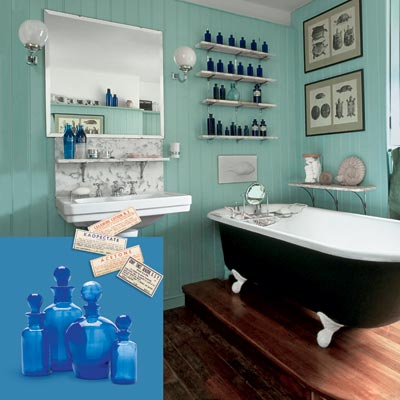 a turn-of-the-century vintage-style bath with bottles and vintage labels inset