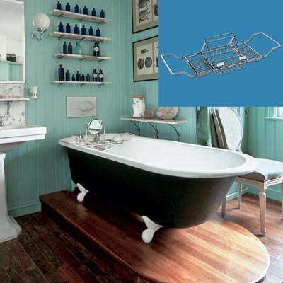 a turn-of-the-century vintage-style bath with a tub caddy rack