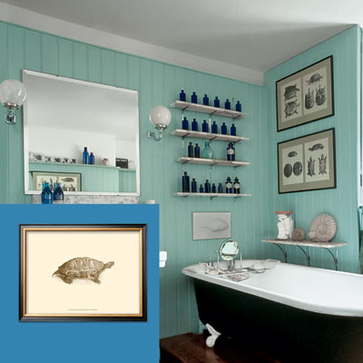a turn-of-the-century vintage-style bath with a framed naturalist illustration inset