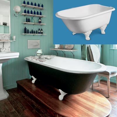 a turn-of-the-century vintage-style bath with a claw-foot tub inset