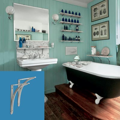 a turn-of-the-century vintage-style bath with shelving brackets inset