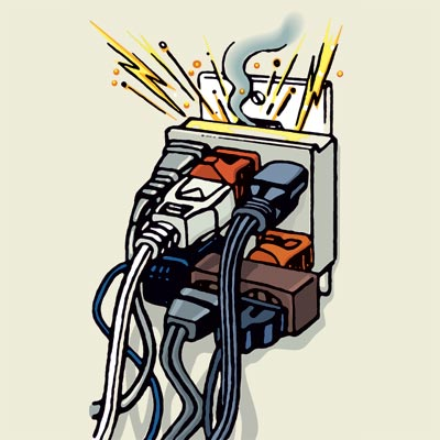 illustration of overloaded power outlet