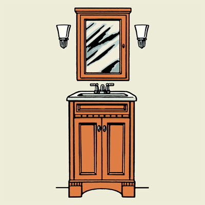 illustration of bathroom vanity with sconces