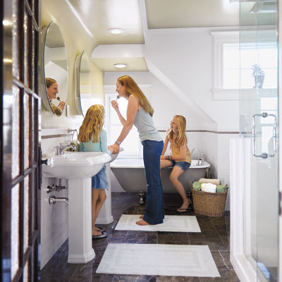 Mulligan family in their remodeled master bath
