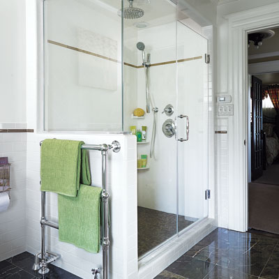 Mulligan master bath shower and towel warmer