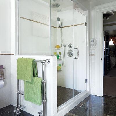 Mulligan master bath shower and towel warmer