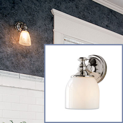 a nickel-finish sconce to go in a Victorian-style bathroom