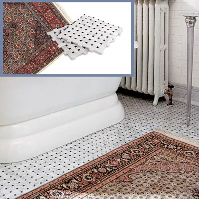 basketweave tile and a Persian rug to go in a Victorian-style bathroom