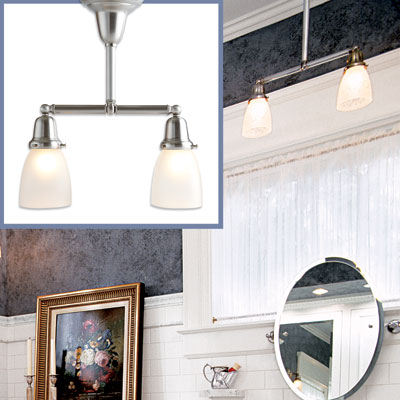 two-light pendant light to go in a Victorian-style bathroom
