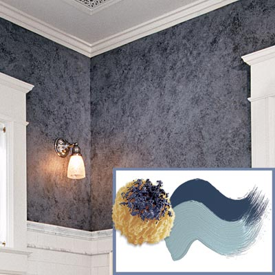 Wall treatment how to create a victorian style bath Grey sponge painted walls